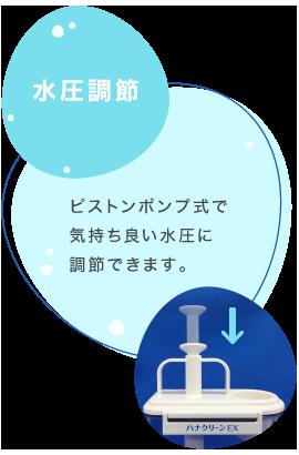 水圧調節 ピストンポンプ式で気持ちいい水圧に調節できます。