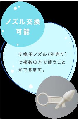 ノズル交換:交換用ノズル(別売り)で複数の方で使うことができます。